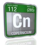 Символ Copernicium в квадратной форме с металлической границей и прозрачной предпосылкой с отражением на поле 3d представляют бесплатная иллюстрация