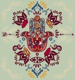 Символ Hamsa с орнаментами и рамкой пер нарисованными рукой бесплатная иллюстрация