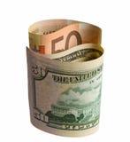 символ monad доллара кредиток сложенный евро Стоковая Фотография RF