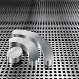 символ rss решетки крома металлический Стоковое Изображение
