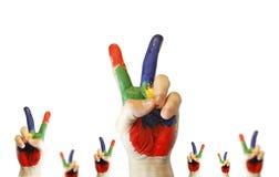 символ v выставки краски рук Стоковые Фото