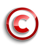 Символ авторского права при изолированное влияние тени Стоковые Изображения RF