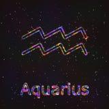 Символ астрологии сияющий Водолей зодиака Стоковые Изображения RF