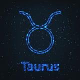 Символ астрологии сияющий голубой абстрактный бык иллюстрация штока