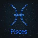 Символ астрологии сияющий голубой Зодиак Pisces иллюстрация штока