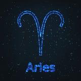 Символ астрологии сияющий голубой Aries зодиака иллюстрация вектора