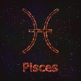 Символ астрологии сияющий Зодиак Pisces иллюстрация вектора