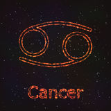 Символ астрологии сияющий Карцинома зодиака иллюстрация вектора