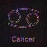 Символ астрологии сияющий Карцинома зодиака иллюстрация штока