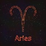 Символ астрологии сияющий Aries зодиака иллюстрация вектора
