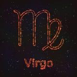 Символ астрологии сияющий Virgo зодиака иллюстрация штока