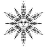Символ алхимии Солнця - иллюстрации вектора стилизованной как гравировка иллюстрация вектора