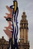 Символ Барселоны Странная скульптура обнаруженная местонахождение внутри Стоковое Изображение RF