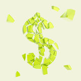 Символ валюты доллара сломанный в крошечные изолированные части Стоковое Изображение