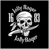Символ Веселого Роджера пиратов Плакат вектора черепа с заплатой глаза пирата, пересеченными косточками и шпагами или саблями чер Стоковое фото RF