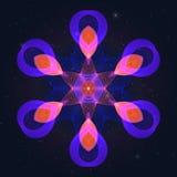 Символ геометрического Flamy газа горячий на звёздном небе иллюстрация штока