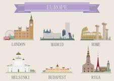 Символ города. Европа иллюстрация штока