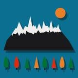 Символ гор и деревьев Стоковое Изображение