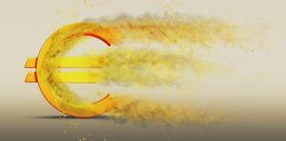 Символ евро дезинтегрирует Стоковая Фотография