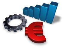 Символ евро и колесо шестерни Стоковое Изображение