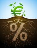 Символ евро начатый вверх по хворостинам и корням взятия Стоковое Изображение