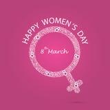 Символ женщин и дизайн 8 логотипов Международный день ic ` s женщин Стоковая Фотография
