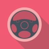 Символ значка рулевого колеса автомобиля плоский Стоковая Фотография