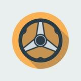 Символ значка рулевого колеса автомобиля плоский Стоковые Изображения