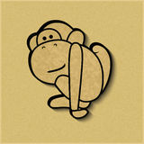 Символ зодиака обезьяны отрезка бумаги Стоковая Фотография