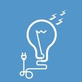 Символическая электрическая лампочка с электрической штепсельной вилкой Стоковые Изображения