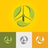 Символический зеленый значок энергии с мельницей и лист ветра Стоковая Фотография RF