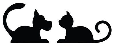 Символический силуэт лежа собаки и кошки Стоковое Фото