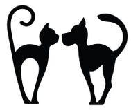 Символический силуэт собаки и кошки Стоковое Изображение RF