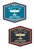Символ или insignia авиации с самолетом Стоковое Изображение RF