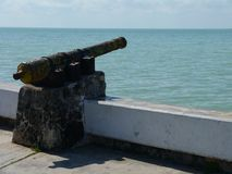 Символ и ориентир ориентир архитектуры карамболя лета пляжа Chetumal Мексики мемориальный Стоковая Фотография RF