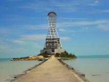 Символ и ориентир ориентир архитектуры маяка лета пляжа Chetumal Мексики Стоковая Фотография RF