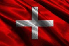 Символ иллюстрации национального флага 3D Швейцарии Стоковые Фото