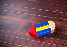 Символ карандаша от блоков цвета деревянных Стоковая Фотография RF