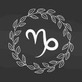 Символ козерога чертежа мела плоский Стоковые Фото