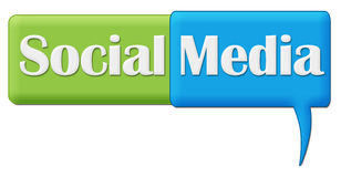 Символ комментария социального зеленого цвета средств массовой информации голубой Стоковое Фото