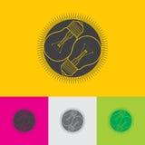 Символ круга Светлые значки лампы Знак идеи и успеха Безшовная текстура квадратов также вектор иллюстрации притяжки corel Стоковые Изображения RF