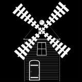 Символ мельницы также вектор иллюстрации притяжки corel Иллюстрация нарисованная рукой мельницы Отсутствие градиентов Значок или  Стоковое Изображение RF