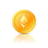 Символ монетки Ethereum, значок, знак, эмблема также вектор иллюстрации притяжки corel Стоковые Изображения
