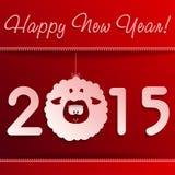 Символ овечки Нового Года на красном цвете с рамкой Стоковое Фото
