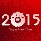 Символ овечки Нового Года на красном цвете с снежинками Стоковые Изображения