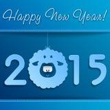 Символ овечки Нового Года на сини с рамкой Стоковые Фото