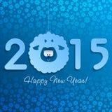 Символ овечки Нового Года на сини с снежинками Стоковые Изображения