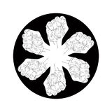 6 символов кулаков абстрактных, черно-белая эмблема экстренныйого выпуска вектора Стоковая Фотография