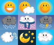 Символы погоды шаржа Стоковое Изображение