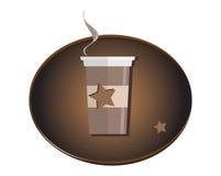 Символ логотипа кофейной чашки изолированный на белой предпосылке Стоковое Фото